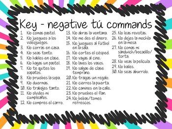 Task Card Set - Negative Tú Commands (Translation Version)