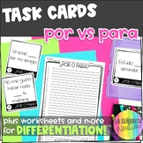 Por y Para Task Card Activity and Worksheet