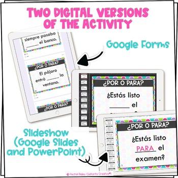Por y Para Task Card Activity and Worksheet