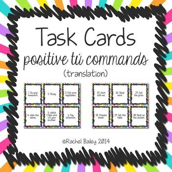 Task Card Set - Positive Tú Commands (Translation Version)