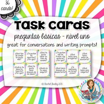 Task Card Set - Preguntas Básicas - Spanish 1 Questions