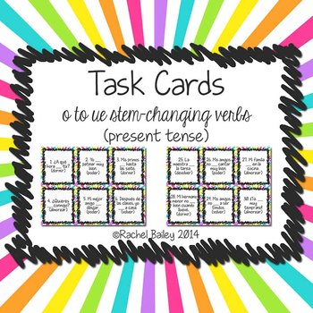 Task Card Set - Present Tense of o to ue Stem-Changing Verbs