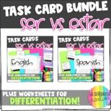 Ser vs Estar | Task Card Activity and Worksheets Bundle