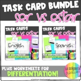 Ser vs Estar | Task Card Activity and Worksheets Bundle