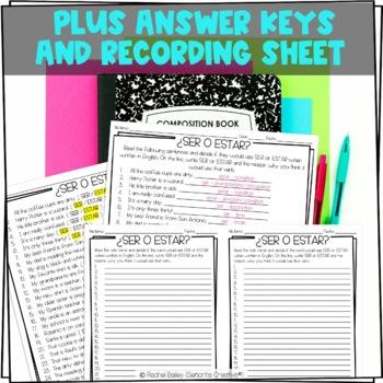 Task Card Set - Ser vs Estar in English Sentences
