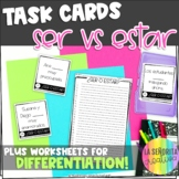 Ser vs Estar in Spanish Task Card Activity and Worksheet