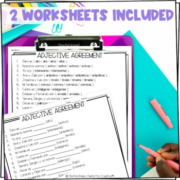 Task Card Set - Spanish Adjective Agreement