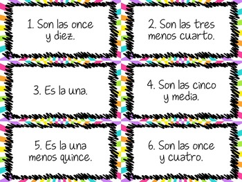Task Card Set - Time (la hora) - Draw the hands on the clock