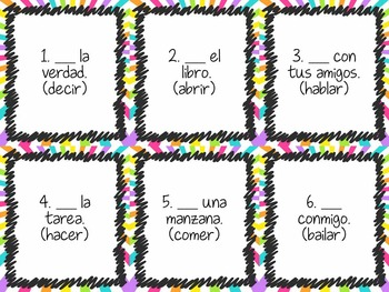 Task Card Set - Positive Tú Commands (Fill in Blank Version)