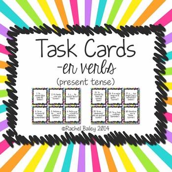 Task Card Set - er verbs in Spanish