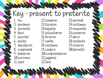 Task Card Set - from Present Tense to Preterite Tense in Spanish