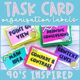 Task Card Storage Organization Labels | 90s Classroom Decor EDITABLE