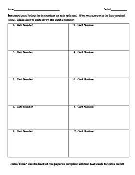 Task Card Student Response