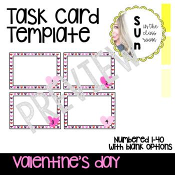 Task Card Template Editable Valentine's Day