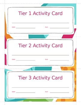 Task Card Template for Centers