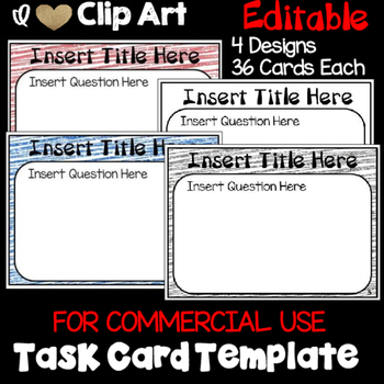 Task Card Template for Commercial Use