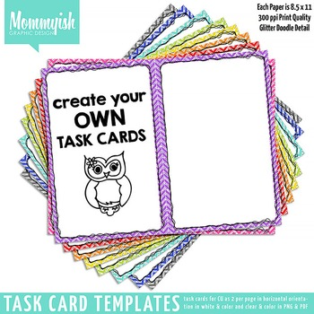 Task Card Templates #1 - 2x1 & 2x2 Horizontal Bundle – Rainbow Chevrons