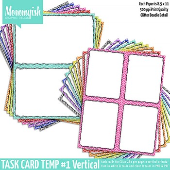 Task Card Templates #1 - 2x1 & 2x2 Vertical Bundle – Rainbow Chevrons