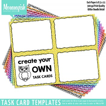 Task Card Templates #1 - 2x2 Horizontal – Rainbow Chevrons