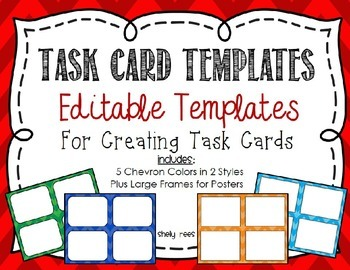 Task Card Templates - 5 Chevron Colors in 2 Styles
