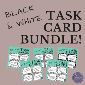 Black and White Task Card Template Bundle for Teachers and TpT Sellers