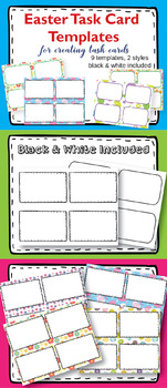 Task Card Templates Clipart, Easter Task Card Templates