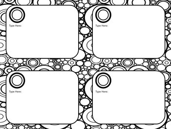Black and White Task Card Template, Concentric Circles