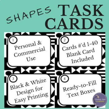 Black and White Task Card Template with Geometric Design