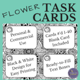 Black and White Task Card Template with Hand Drawn Flowers
