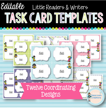 Task Card Templates: Little Readers & Writers (Bailey Edition)