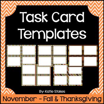 Task Card Templates - November & Fall/Thanksgiving