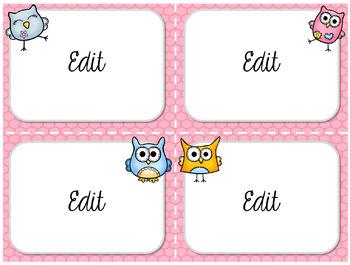 Task Card Templates: Owl Theme (Bailey Edition)