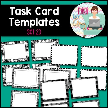 Task Card Templates clipart - SET 20 - Black and White version