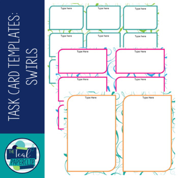 Task Card / Classroom Label Template Swirls