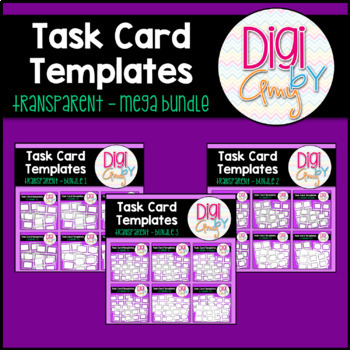 Task Card Templates Clip Art Transparent Set BUNDLE