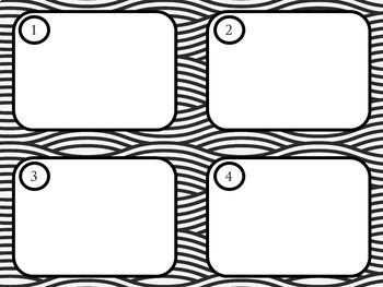 Black and White Task Card Template with Wavy Lines