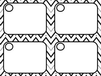 Black and White Task Card Template with Zig Zag Lines