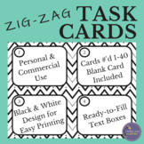 EDITABLE Black and White Task Card Template with Zig Zag Lines