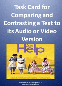 Task Card for Comparing and Contrasting a Text to its Audio or Video Version