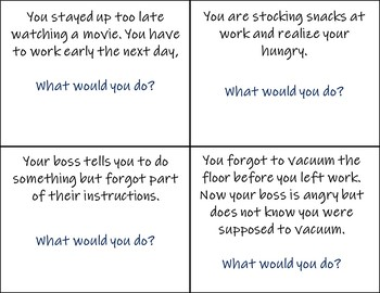 Task Cards for Problems in the Workplace