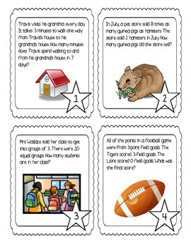 Task Cards: 1 and 2 step Multiplication and Division Word Problems