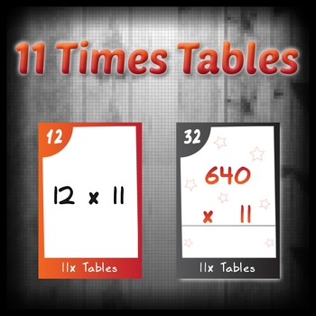 Task Cards - 11 Times Tables (with challenges)