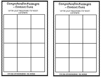 Task Cards {14 Comprehension Passages - Context Cues} + QR Code Checks