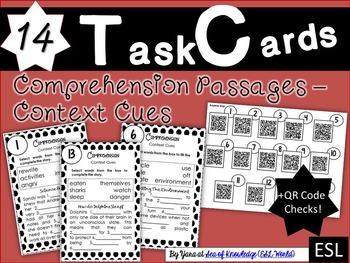 Task Cards {14 Comprehension Passages - Context Cues} + QR