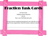 Task Cards 18- Fraction Adding Common Denominator with Key