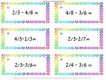 Task Cards 18- Fraction Subtracting Uncommon Denominator with Key
