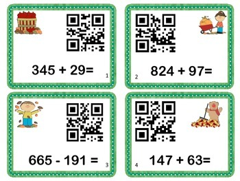 Math Task Cards with QR Codes  - 2 and 3 Digit Add/Subtract