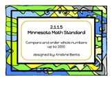 Comparing & Ordering Whole Numbers -Task Cards Math MN Standards 2.1.1.5