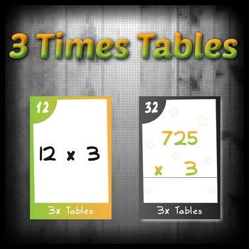 Task Cards - 3 Times Tables (with challenges)