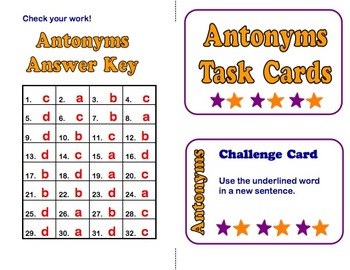 Antonym Task Cards Free for Grades 4-6!